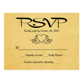 Vintage Heart Gold & Black RSVP Wedding Response Postcard