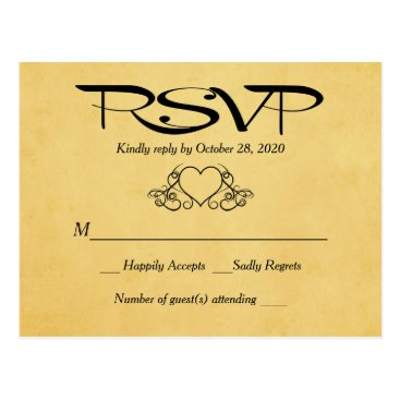 Valentines Themed Vintage Heart Gold & Black RSVP Wedding Response Postcard