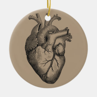 Vintage Heart Illustration Ceramic Ornament
