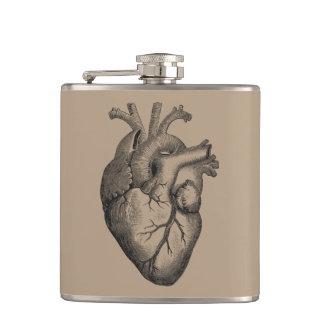 Vintage Heart Illustration Flask