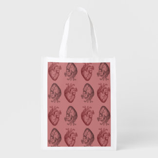 Vintage Heart Illustration Grocery Bags