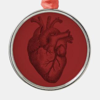 Vintage Heart Illustration Metal Ornament
