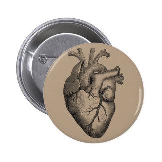 Vintage Heart Illustration Pinback Button