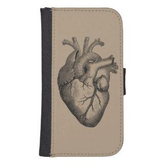 Vintage Heart Illustration Samsung S4 Wallet Case