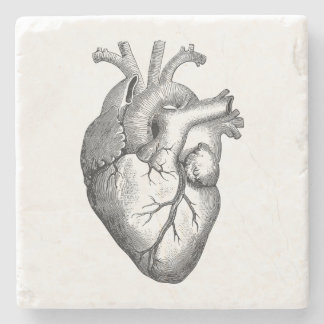 Vintage Heart Illustration Stone Coaster