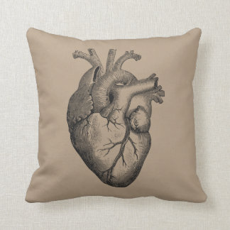 Vintage Heart Illustration Throw Pillow