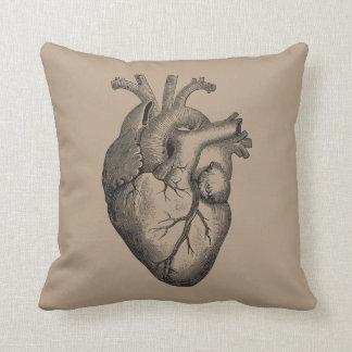Vintage Heart Illustration Throw Pillow