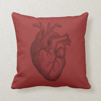 Vintage Heart Illustration Throw Pillows