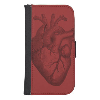 Vintage Heart Illustration Wallet Phone Case For Samsung Galaxy S4