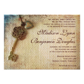 Vintage Heart Key Rustic Burlap Wedding Invitation