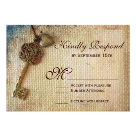 Vintage Heart Key Rustic Burlap Wedding RSVP Cards