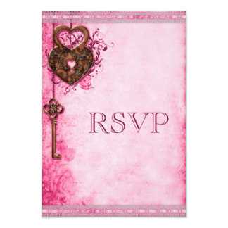 Vintage Heart Lock & Key Pink Wedding RSVP Card