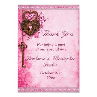 Vintage Heart Lock & Key Pink Wedding Thank You Card