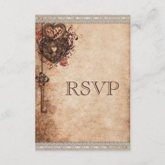Vintage Heart Lock & Key Wedding RSVP