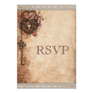 Vintage Heart Lock & Key Wedding RSVP 3.5x5 Paper Invitation Card