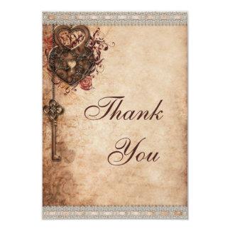 Vintage Heart Lock & Key Wedding Thank You 3.5x5 Paper Invitation Card