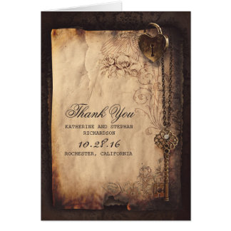 VINTAGE HEART LOCK KEY WEDDING THANK YOU CARDS