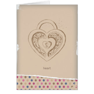 Vintage Heart lock with polka dots Cards