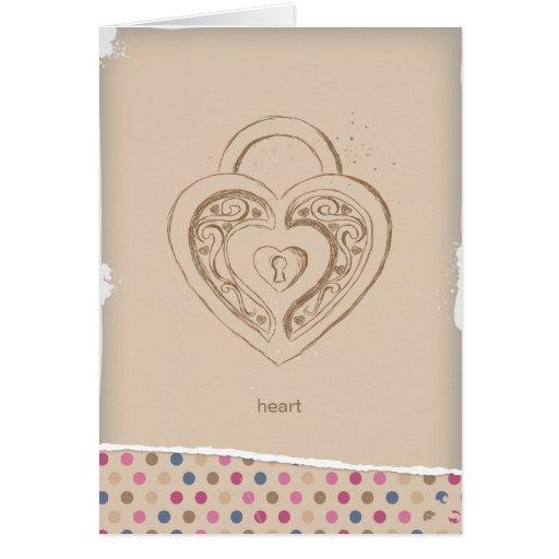 Vintage Heart lock with polka dots Card