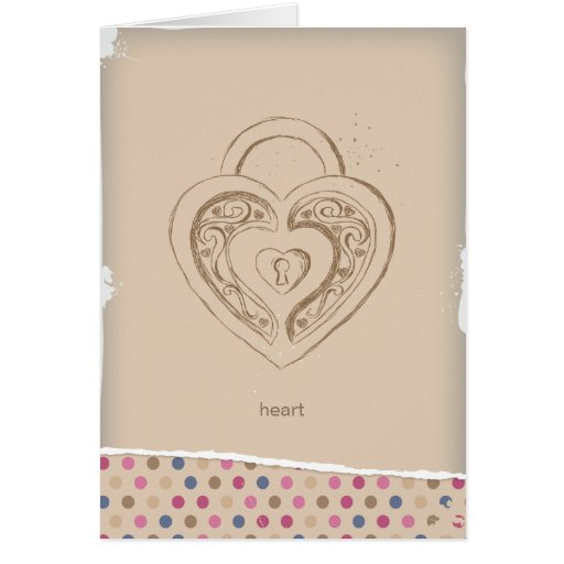 Vintage Heart lock with polka dots Greeting Card