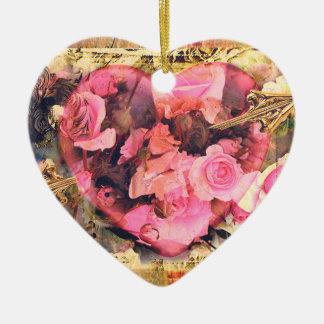 Vintage Heart n' Roses Valentine Heart Ornament