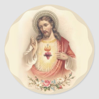 Vintage Heart of Jesus with Floral Roses Classic Round Sticker
