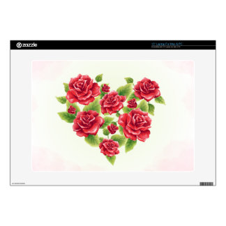Vintage Heart of red roses painted pink background Laptop Skins