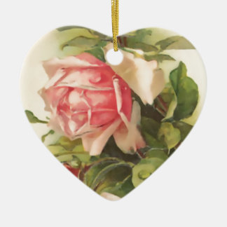 Vintage Heart Pink Rose Ceramic Ornament