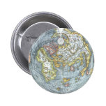 Vintage Heart Shaped Antique World Map Peter Apian 2 Inch Round Button
