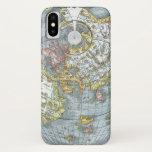 Vintage Heart Shaped Antique World Map Peter Apian iPhone X Case