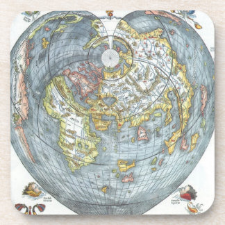 Vintage Heart Shaped Antique World Map Peter Apian Coaster