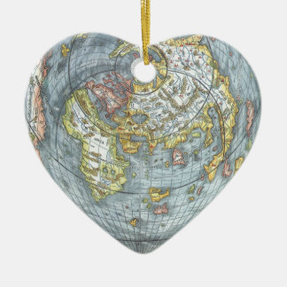 Vintage Heart Shaped Antique World Map Peter Apian Double-Sided Heart Ceramic Christmas Ornament