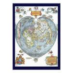 Vintage Heart Shaped Antique World Map Peter Apian Invitation
