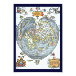 "Vintage Heart Shaped Antique World Map Peter Apian 5"" X 7"" Invitation Card"