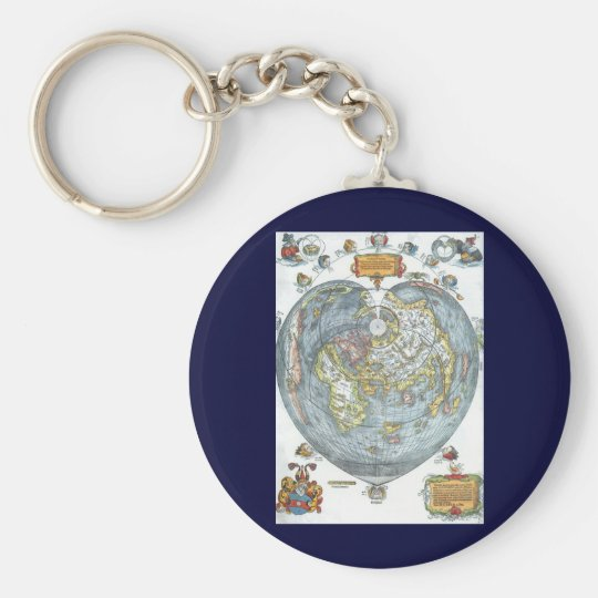 Vintage Heart Shaped Antique World Map Peter Apian Keychain