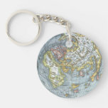 Vintage Heart Shaped Antique World Map Peter Apian Double-Sided Round Acrylic Keychain