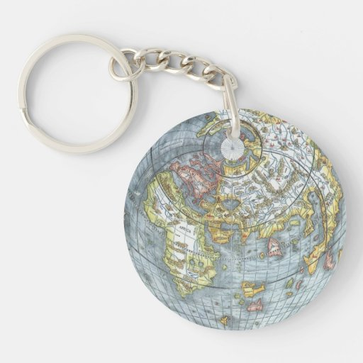 Vintage Heart Shaped Antique World Map Peter Apian Acrylic Keychain