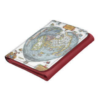 Vintage Heart Shaped Antique World Map Peter Apian Leather Tri-fold Wallet