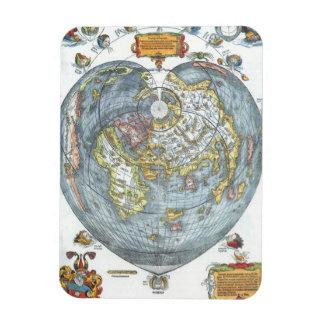 Vintage Heart Shaped Antique World Map Peter Apian Magnet