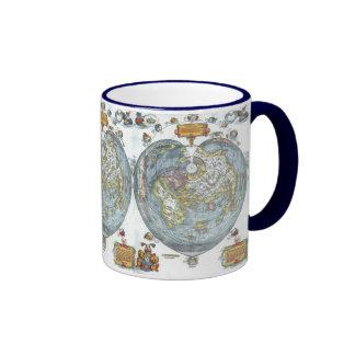 Vintage Heart Shaped Antique World Map Peter Apian Coffee Mugs