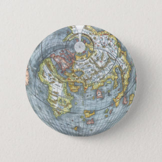 Vintage Heart Shaped Antique World Map Peter Apian Pinback Button