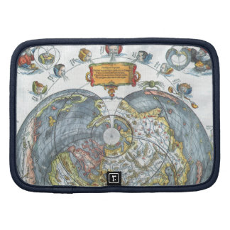 Vintage Heart Shaped Antique World Map Peter Apian Organizer