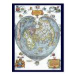 Vintage Heart Shaped Antique World Map Peter Apian Post Card