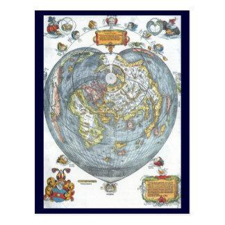 Vintage Heart Shaped Antique World Map Peter Apian Postcard