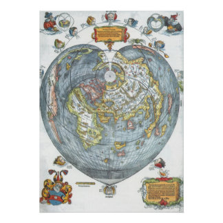 Vintage Heart Shaped Antique World Map Peter Apian Poster
