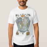 Vintage Heart Shaped Antique World Map Peter Apian T-shirt