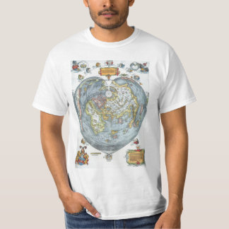 Vintage Heart Shaped Antique World Map Peter Apian T-Shirt