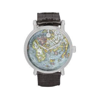 Vintage Heart Shaped Antique World Map Peter Apian Wristwatches