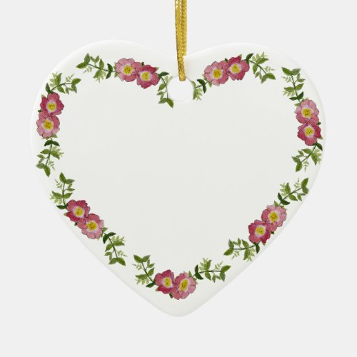 Vintage Heart-Shaped Wreath of Flowers for Mom Ceramic Ornament