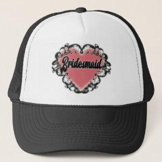 Vintage heart tattoo bridesmaid trucker hat
